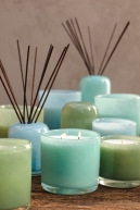 Alassis art glass in cool shades of blue and green