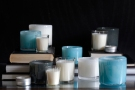 Alassis art glass in icy shades of blue and grey